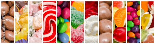 Keuken foto achterwand Snoepjes Delicious Sweets Background Collage With Candies