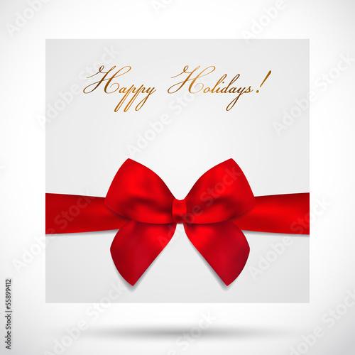 Holiday card, Christmas card, Gift Birthday card with bow