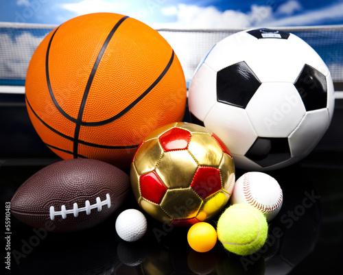 Foto-Flächenvorhang ohne Schienensystem - Sports balls, a lot of balls and stuff  (von Sebastian Duda)