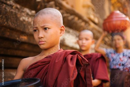 Fotografia Southeast Asian young Buddhist monks walking morning alms