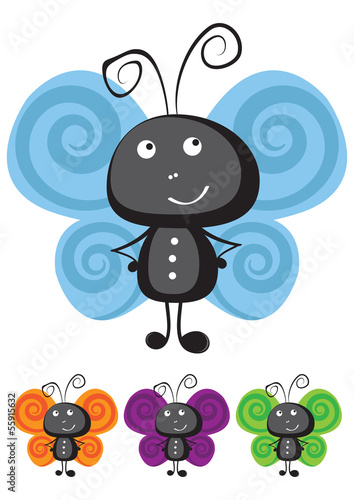 Canvas Prints Ladybugs Butterfly vector illustration
