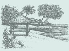 Vector Seascape. Palm Trees Near Bungalow On The Seashore