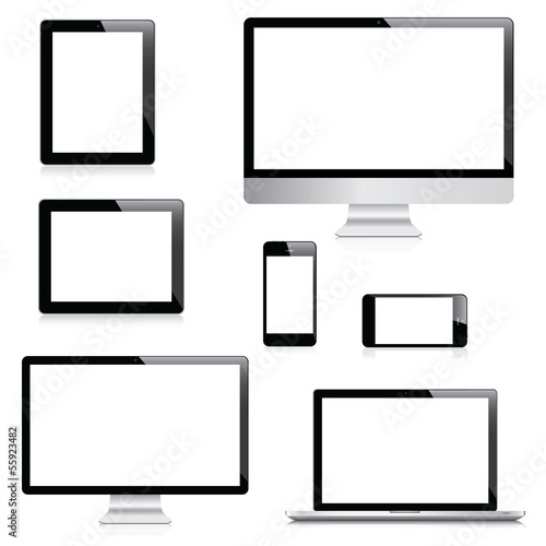 Fotografie, Obraz  Modern computer, laptop, tablet and smartphone vectors