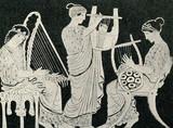 Greckie kobiety, grające na harfie, cithara i lira - 55929211