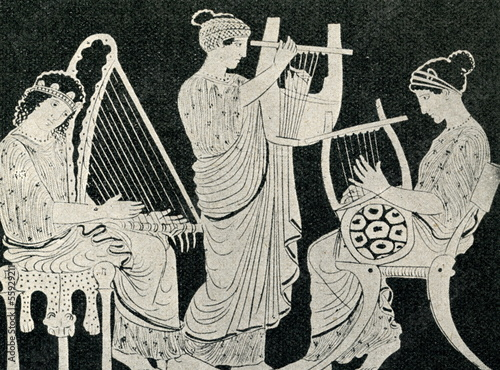 Photo  Greek womens, playing harp, cithara and lyre
