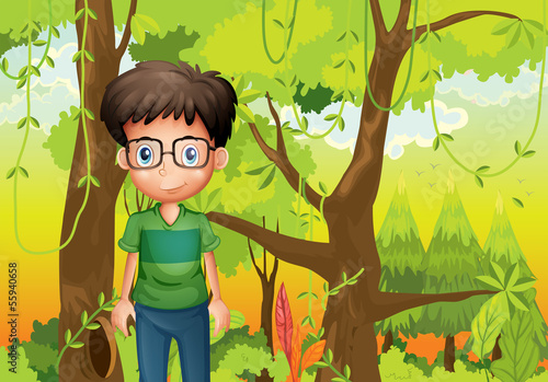A forest with a boy wearing an eyeglass #55940658