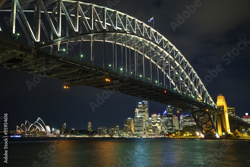 sydney harbour bridge in australia at night Poster