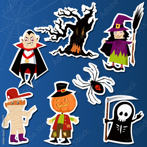 Recess Fitting Wild West Set of cute Halloween character stickers
