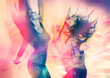 canvas print picture - arty picture of dancing girls / disco disco 07