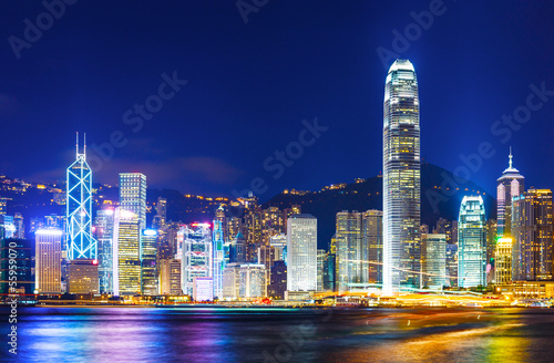 Tuinposter Hong-Kong Cityscape of Hong Kong night