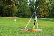 Croquet Equipment Propped Up R...