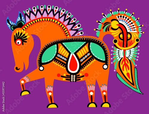 Fotografija  ukrainian tribal ethnic painting, unusual horse, folk illustrati