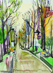 Fototapetaoriginal watercolor painting of city park