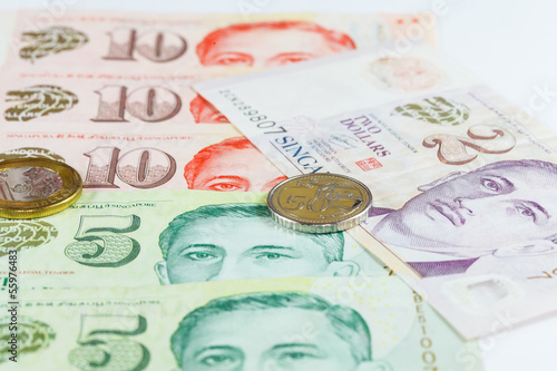 Singapore Dollars Note and Coins Poster