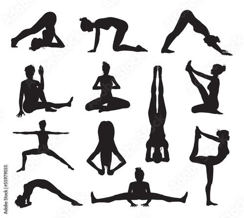 Yoga or pilates poses silhouettes Tablou Canvas