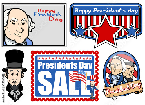 Photo  Presidents Day USA National Theme Vector Set