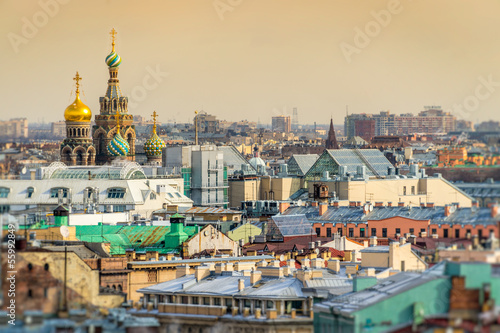 Obraz Saint Petersburg Skyline and Church of the Savior on Blood Dome - fototapety do salonu