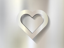 Silver Heart Frame On Metal Background