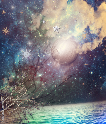 Wall Murals Imagination Starry sky in the sea