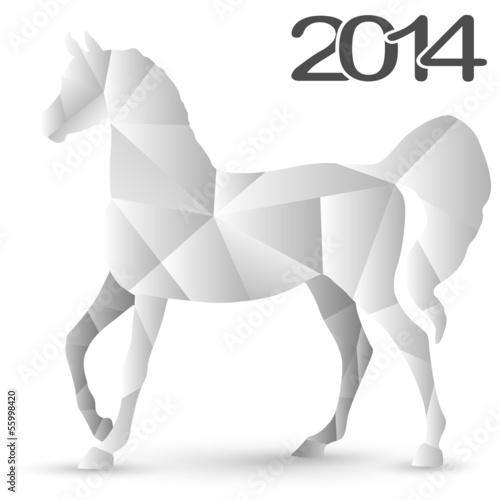 Poster Geometrische dieren Origami Paper Horses