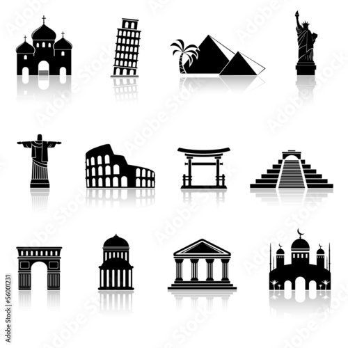 Fotografie, Obraz  vector black travel and landmarks icons set