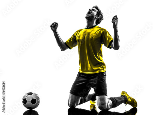 brazilian soccer football player young happiness joy kneeling ma