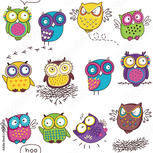 Deurstickers Uilen cartoon Seamless pattern with color owl in white background