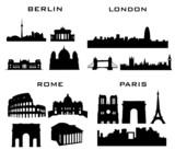Fototapeta London - 4 cities berlin lodon rome paris