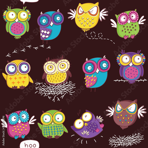 Seamless pattern with color owl in dark background