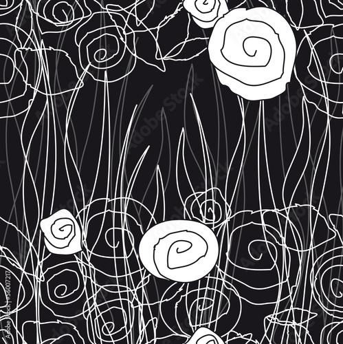 Poster Floral black and white pattern91