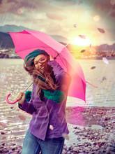 Stürmischer Regen / Pink Umbr...
