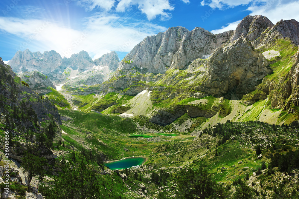 Fototapety, obrazy: Amazing view of mountain lakes in Albanian Alps
