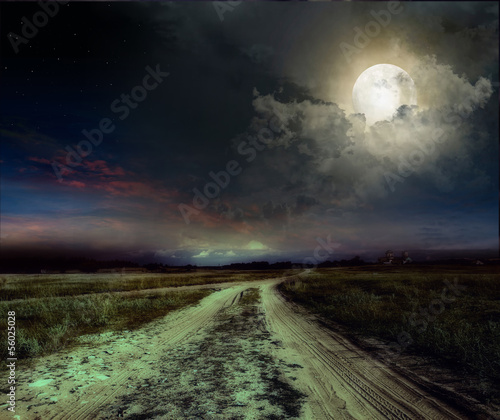 Poster Pleine lune road in the night