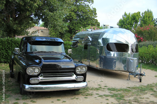 Classic car and caravan Wallpaper Mural