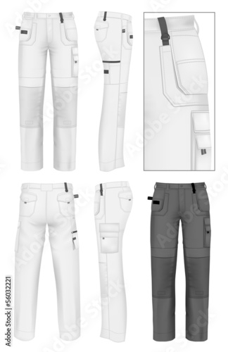 Fotografie, Obraz  Men's working trousers design template