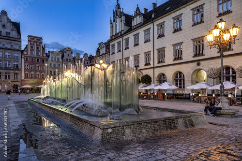 Wroclaw, fountain at the main square