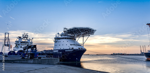 Photo  Oil Supply ships in Esbjerg harbor, Denmark