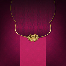 The Original Envelope With A Gold Clasp And Seamless Pattern