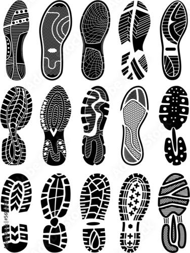 Fotografia  Shoe soles vector silhouettes collection
