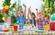canvas print picture - Group of kids having fun at birthday party