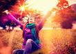 canvas print picture - den Herbst genießen / pink umbrella 15