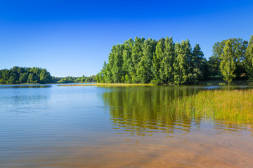 Summer scenery at the lake in Poland