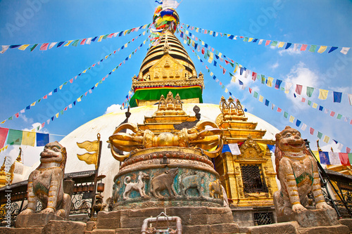 Canvas Prints Nepal Stupa in Swayambhunath Monkey temple , Kathmandu, Nepal.