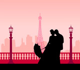 Wedding couple in front of Eiffel tower in Paris silhouette