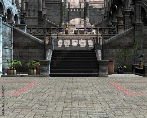 Obraz na plátně Inside the courtyard