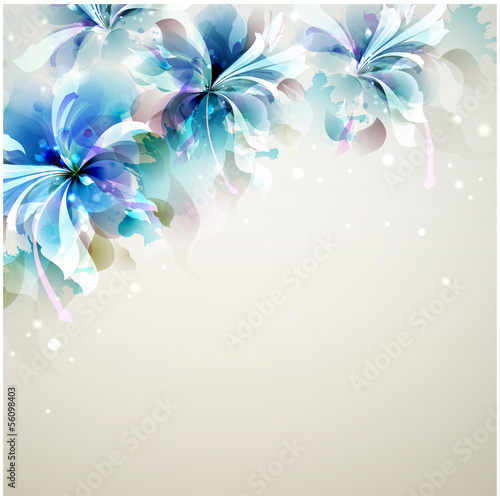 Photo Stands Floral woman Tender background with blue abstract flowers in the corner