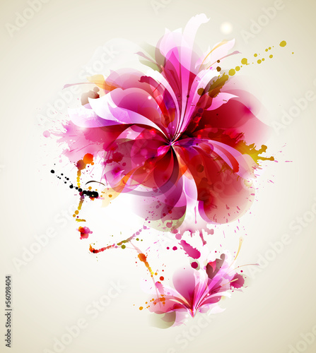 Poster Bloemen vrouw Beautiful fashion women with abstract hair and design elements