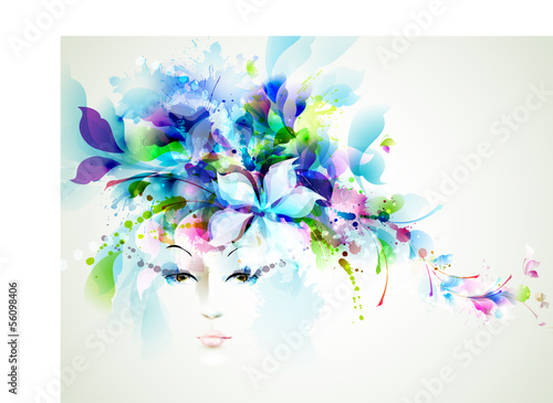 Deurstickers Bloemen vrouw Beautiful fashion women face with abstract design elements