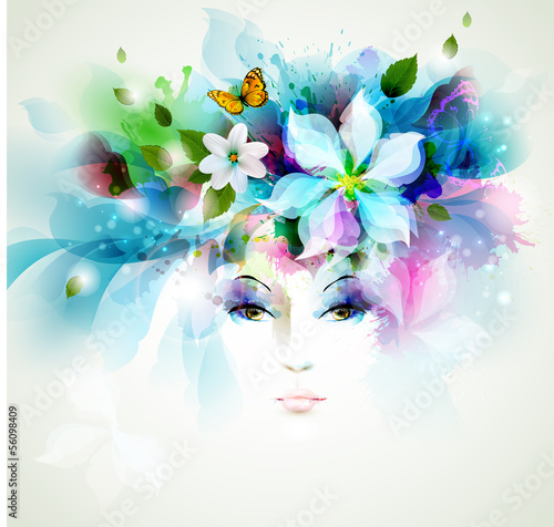 Deurstickers Bloemen vrouw Beautiful fashion women face