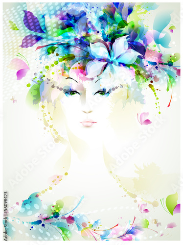 Poster Bloemen vrouw Beautiful fashion women with summer design elements